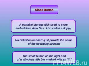 Close Button A portable storage disk used to store and retrieve data files. Also