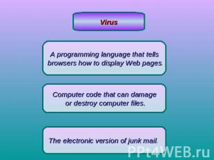 VirusA programming language that tells browsers how to display Web pages.Compute