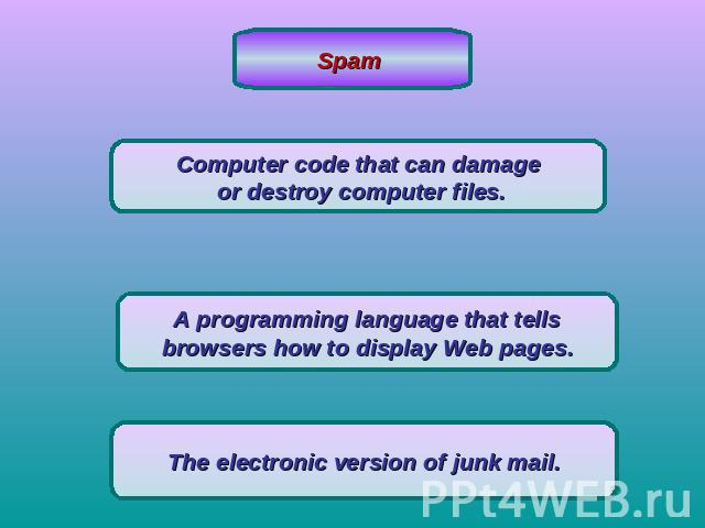 Spam Computer code that can damage or destroy computer files.A programming language that tellsbrowsers how to display Web pages.The electronic version of junk mail.