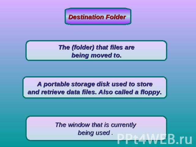 Destination Folder The (folder) that files are being moved to. A portable storage disk used to store and retrieve data files. Also called a floppy. The window that is currently being used .