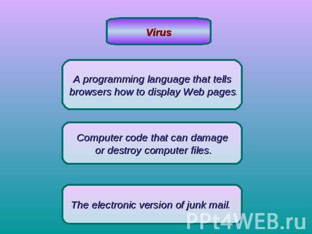VirusA programming language that tells browsers how to display Web pages.Computer code that can damage or destroy computer files.The electronic version of junk mail.