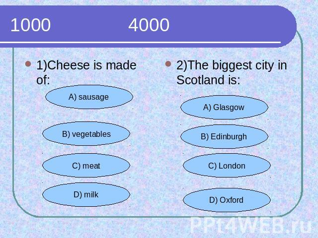 1000 4000 1)Cheese is made of:2)The biggest city in Scotland is: