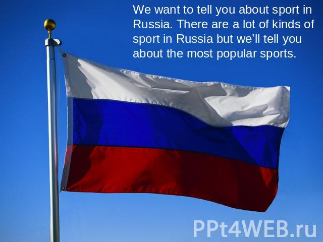 We want to tell you about sport in Russia. There are a lot of kinds of sport in Russia but we'll tell you about the most popular sports.