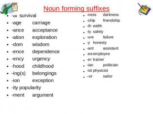 Noun forming suffixes -alsurvival-agecarriage-anceacceptance-ationexploration-do