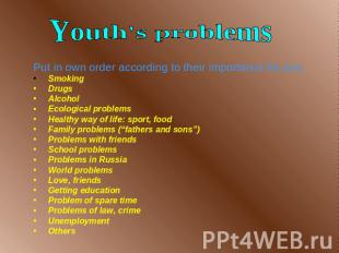 Youth's problems Put in own order according to their importance for you Smoking