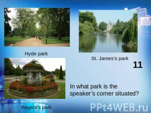 In what park is the speaker's corner situated?