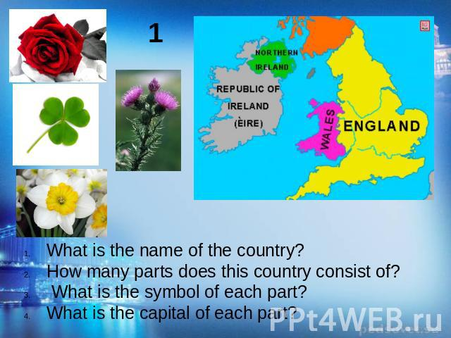 What is the name of the country?How many parts does this country consist of? What is the symbol of each part?What is the capital of each part?