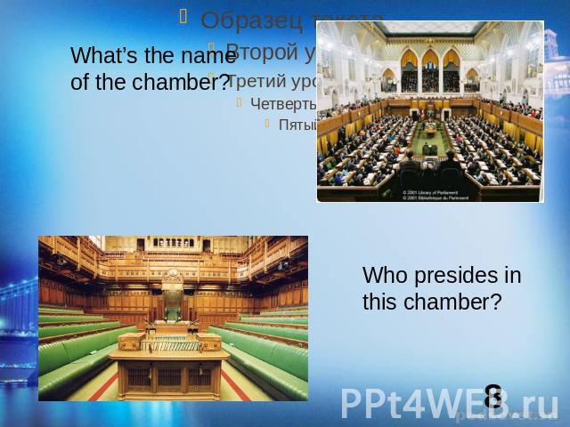 What's the name of the chamber?Who presides in this chamber?