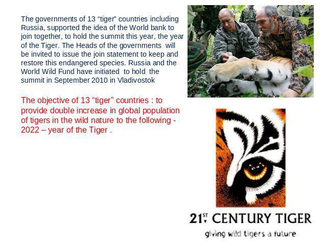 "The governments of 13 ""tiger"" countries including Russia, supported the idea of the World bank to join together, to hold the summit this year, the year of the Tiger. The Heads of the governments will be invited to issue the join statement to keep an…"