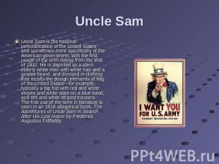 Uncle Sam Uncle Sam is the national personification of the United States and som