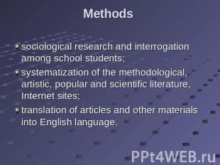 Methods sociological research and interrogation among school students; systemati