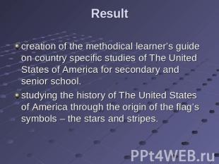 Result creation of the methodical learner's guide on country specific studies of