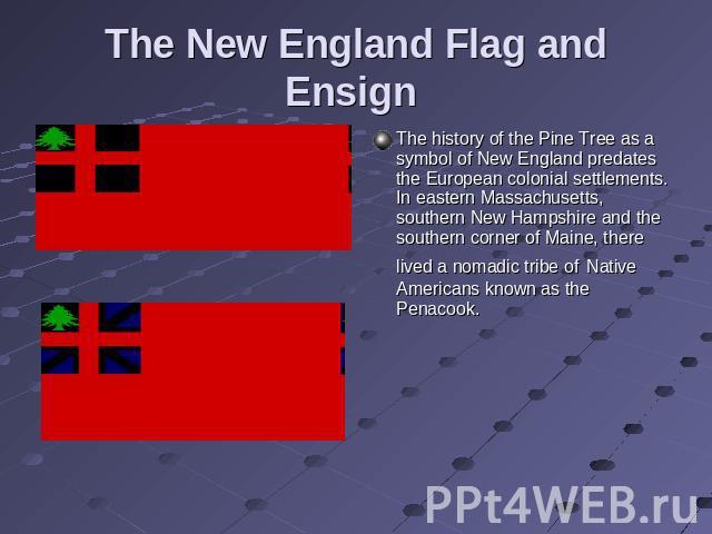The New England Flag and Ensign The history of the Pine Tree as a symbol of New England predates the European colonial settlements. In eastern Massachusetts, southern New Hampshire and the southern corner of Maine, there lived a nomadic tribe of Nat…