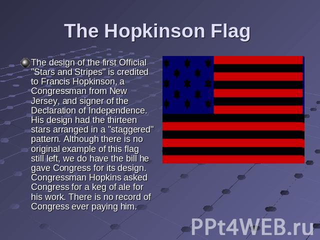 The Hopkinson Flag The design of the first Official