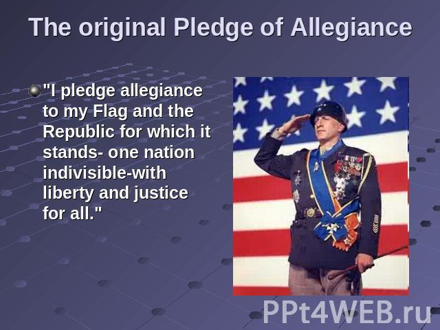 The original Pledge of Allegiance