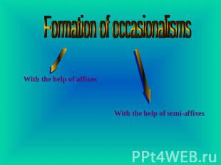 Formation of occasionalisms With the help of affixes With the help of semi-affix