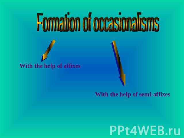 Formation of occasionalisms With the help of affixes With the help of semi-affixes