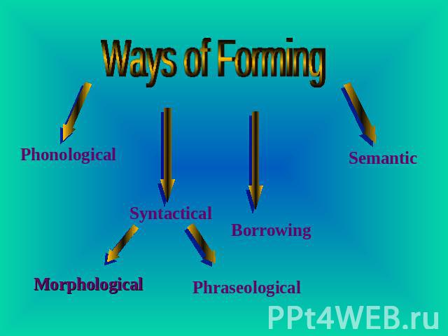 Ways of Forming Phonological Morphological Syntactical Phraseological Borrowing Semantic