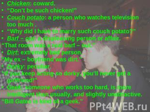 "Chicken: coward.""Don't be such chicken!""Couch potato: a person who watches telev"