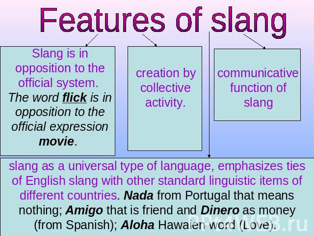 Features of slang Slang is in opposition to the official system. The word flick is in opposition to the official expression movie. creation by collective activity. communicative function of slang slang as a universal type of language, emphasizes tie…