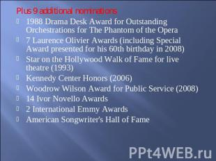Plus 9 additional nominations1988 Drama Desk Award for Outstanding Orchestration