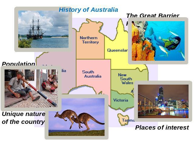 History of Australia The Great Barrier Reef Population Unique nature of the country Places of interest