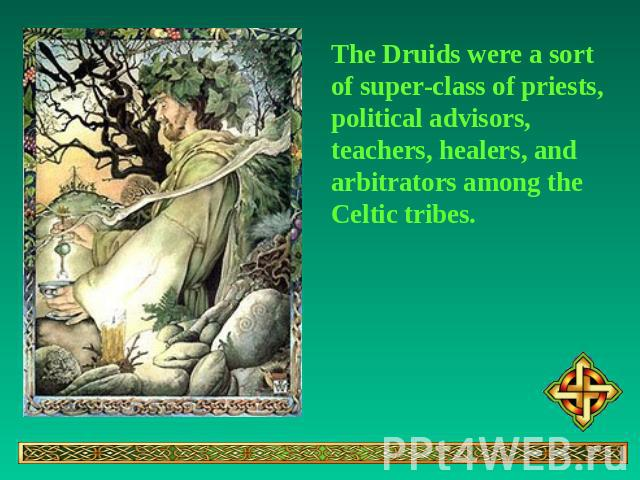 The Druids were a sort of super-class of priests, political advisors, teachers, healers, and arbitrators among the Celtic tribes.