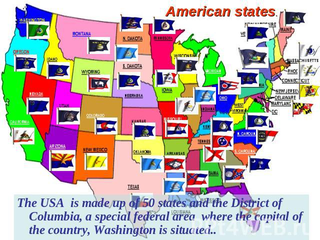 American states. The USA is made up of 50 states and the District of Columbia, a special federal area where the capital of the country, Washington is situated..