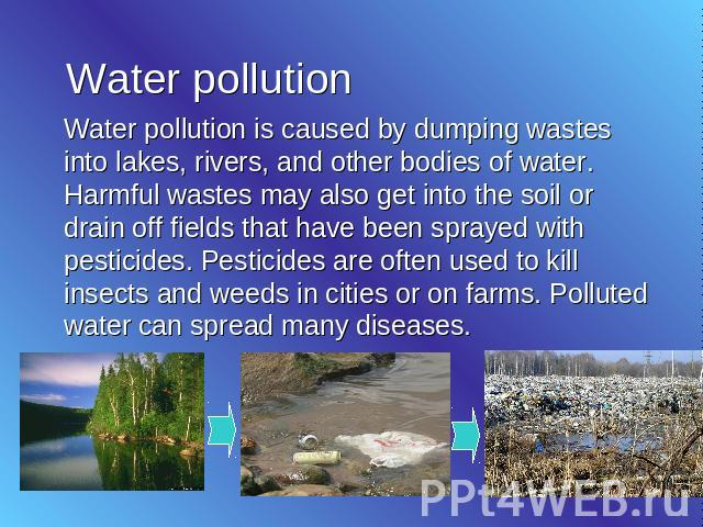 kinds of pollution essay Water pollution essay improper disposal of various types of waste as well as synthetic detergents used both domestically and industrially.
