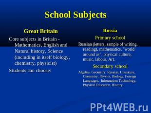 School Subjects Great BritainCоre subjects in Britain - Mathematics, English and