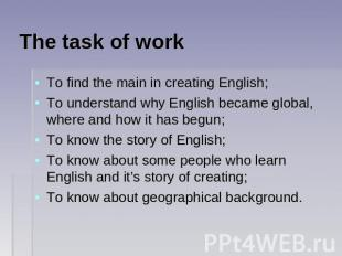 The task of work To find the main in creating English;To understand why English