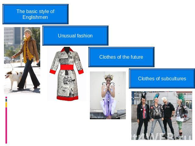 The basic style of Englishmen Unusual fashion Clothes of the future Clothes of subcultures