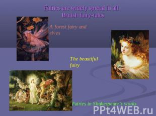 Fairies are widely spread in all British fairy-tales A forest fairy and elves Th