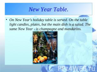New Year Table. On New Year's holiday table is served. On the table light candle