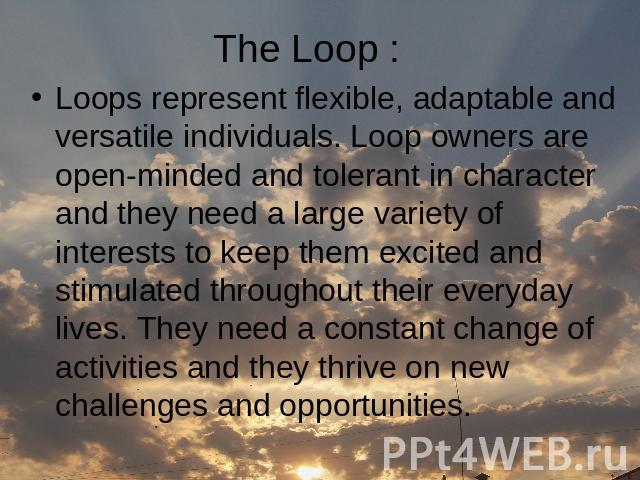 The Loop : Loops represent flexible, adaptable and versatile individuals. Loop owners are open-minded and tolerant in character and they need a large variety of interests to keep them excited and stimulated throughout their everyday lives. They need…