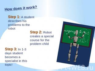 How does it work? Step 1: A student describes his problems to the robot Step 2: