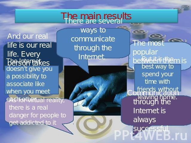 The main results There are several ways to communicate through the Internet. And our real life is our real life. Every person takes an active part in it. The Internet doesn't give you a possibility to associate like when you meet each other. As for …