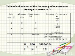 Table of calculation of the frequency of occurrence» to magic squares n≥ 3
