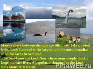 Many valleys between the hills are filled with lakes, called lochs. Loch Lomond