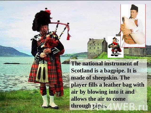 The national instrument of Scotland is a bagpipe. It is made of sheepskin. The player fills a leather bag with air by blowing into it and allows the air to come through pipes.