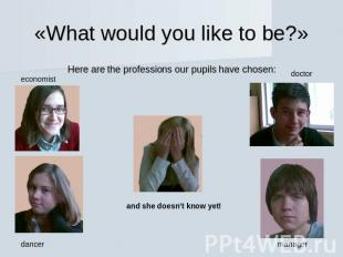 «What would you like to be?» Here are the professions our pupils have chosen: ec