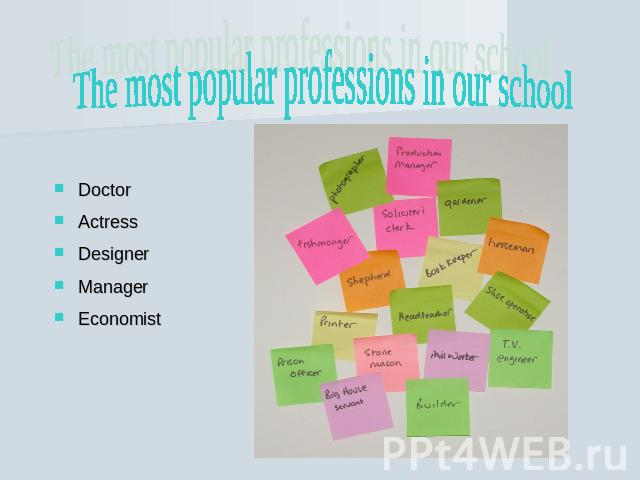 The most popular professions in our school DoctorActressDesignerManagerEconomist