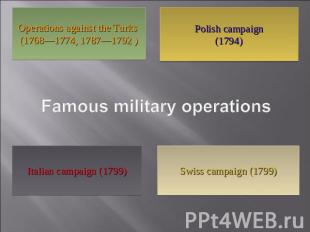 Operations against the Turks (1768—1774, 1787—1792 ) Polish campaign(1794) Famou