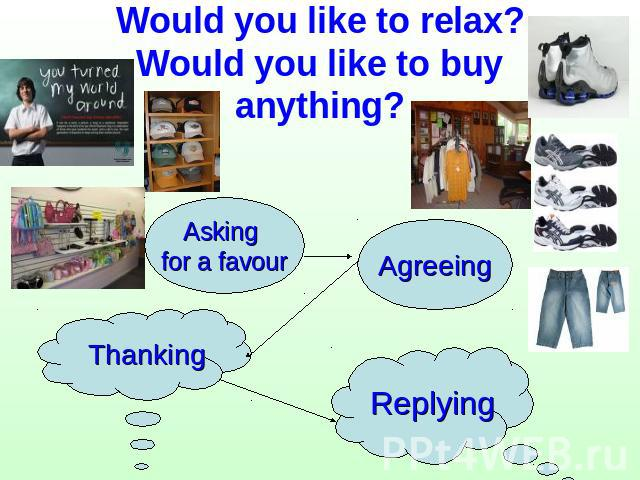 Would you like to relax?Would you like to buy anything? Asking for a favour Agreeing Thanking Replying