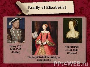 Family of Elizabeth I Henry VIII 1491-1547 (Father) The Lady Elizabeth in 1546,