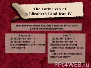 The early lives of Elizabeth I and Ivan IV The childhoods of both Elizabeth I an