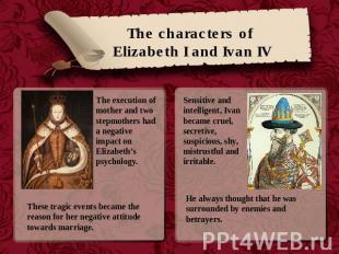 The characters of Elizabeth I and Ivan IV The execution of mother and two stepmo