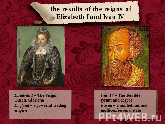 The results of the reigns of Elizabeth I and Ivan IV Elizabeth I – The Virgin Queen, GlorianaEngland – a powerful trading empire Ivan IV – The Terrible, tyrant and despotRussia – a multiethnic and multiconfessional state