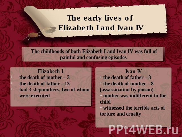 The early lives of Elizabeth I and Ivan IV The childhoods of both Elizabeth I and Ivan IV was full of painful and confusing episodes.Elizabeth Ithe death of mother – 3the death of father – 13had 3 stepmothers, two of whom were executed Ivan IV the d…