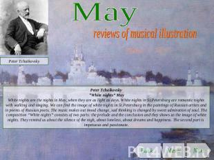 "May reviews of musical illustration Peter Tchaikovsky ""White nights"" MayWhite ni"